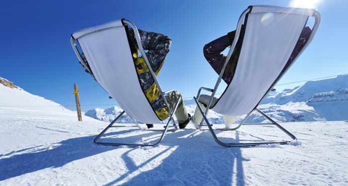 sunchairs on ski resort